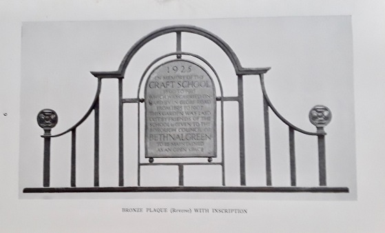 Reverse of plaque over gateway.